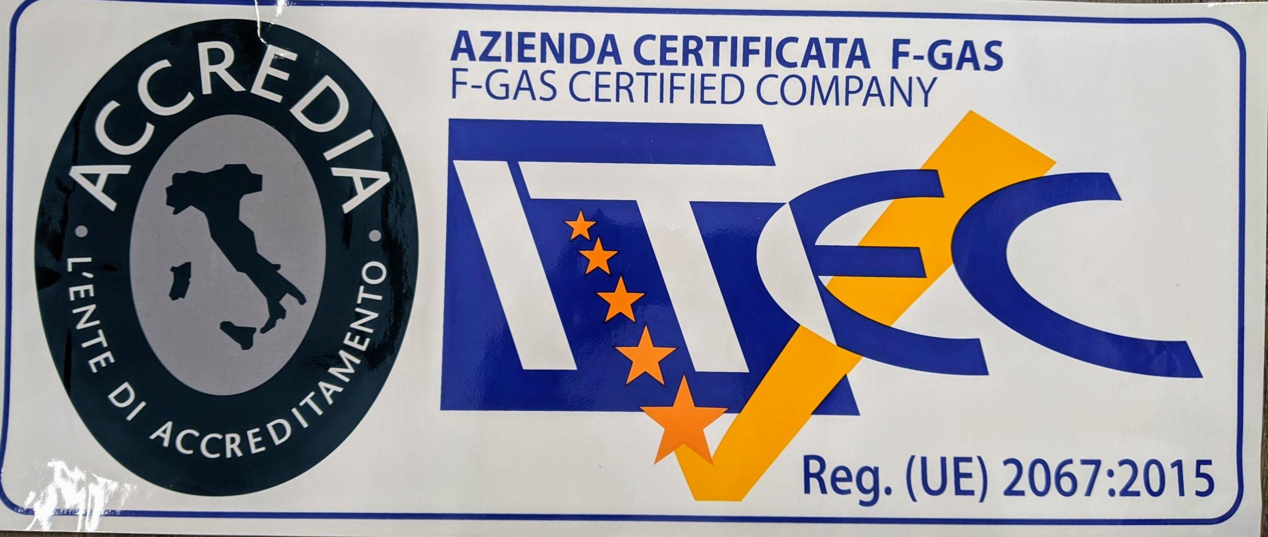 Auxo è azienda certificata F-gas